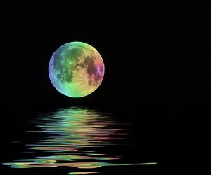 colours, moon, and rainbow image