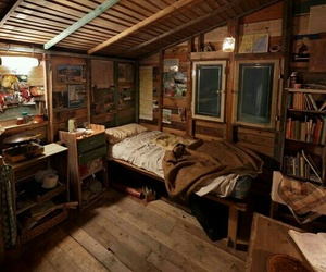 bedroom, bed, and books image