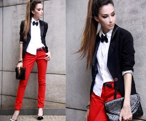 style, outfit, and red image