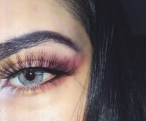 black, makeup, and blue eyes image
