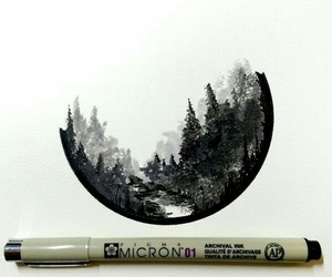 black and white, drawing, and forest image