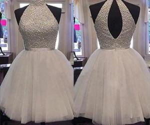 party dress, tulle party dress, and beaded homecoming dress image