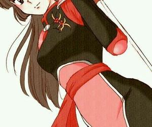 anime girl, brown hair, and draw image