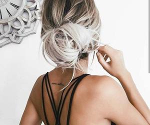 black, bun, and hairstyles image