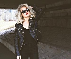 fashion, blonde, and leather jacket image