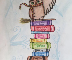 art, owl, and books image