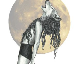 wolf, draw, and girl image