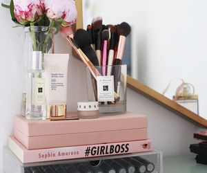 flowers, book, and makeup image