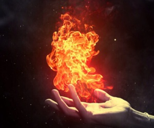 fire, magic, and hand image