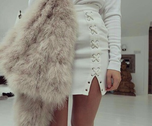 fur coat, white skirts, and black thigh high boots image