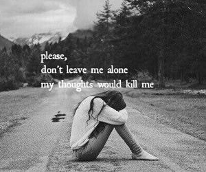 sad, alone, and thoughts image
