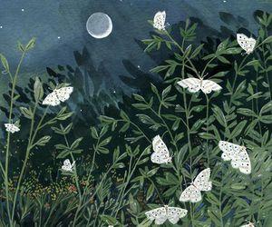 art, illustration, and moon image