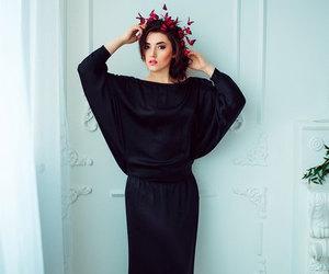 black dress, butterflies, and dress image