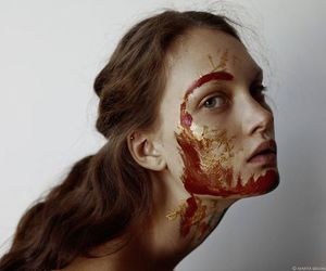 blood, gold, and portrait image