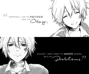 anime, monochrome, and quote image