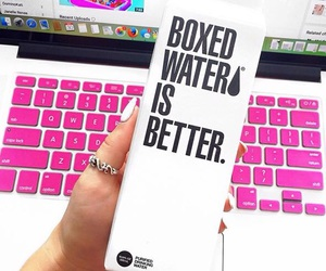 boxed water, macbook, and pink image