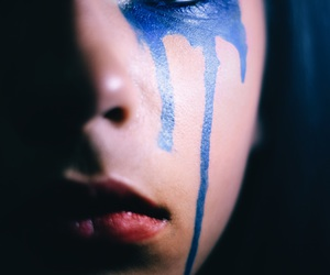 blue, dripping, and paint image