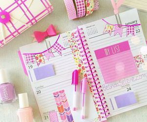 pink, planner, and girly image