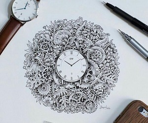 clock, drawing, and art image