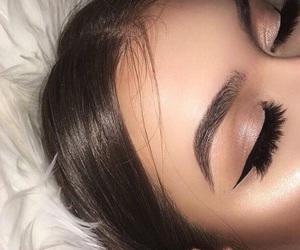 eye liner, make up, and Nude image
