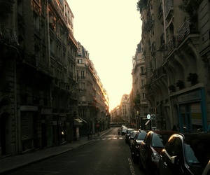 city, street, and sunset image