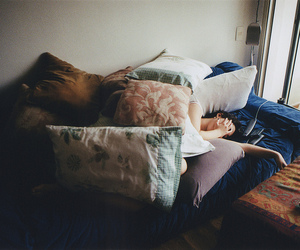 pillow, girl, and Lazy image