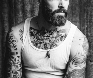 beard, ink, and man image