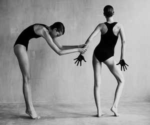 black and white, dancers, and photography image