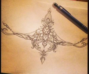 drawing, sternum tattoo, and ideas image