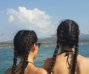 hairstyles, sea, and sister image