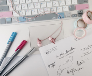 study, pink, and school image