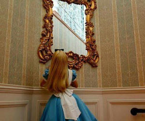 alice, mirror, and alice in wonderland image