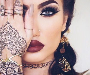 makeup, henna, and beauty image