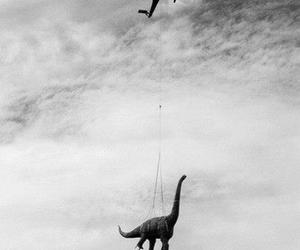 black and white, fun, and dinosaur image