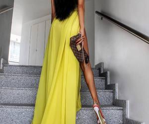 dress, girl, and yellow image