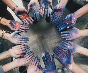 hands, art, and blue image