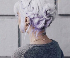 hair, purple, and braid image