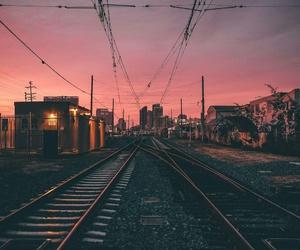 sunset, sky, and train image