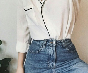 high waisted, outfit, and style image