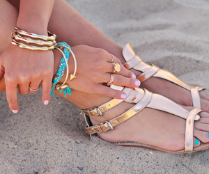 beach, glamorous, and nails image