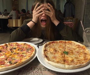 girl, pizza, and food image