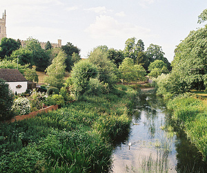 river, house, and nature image