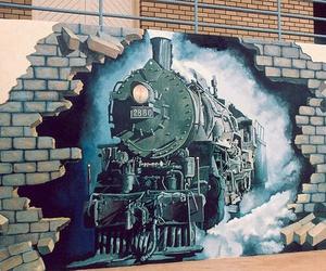 train, graffiti, and wall image