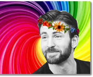 chris evans, rainbow, and colorful image