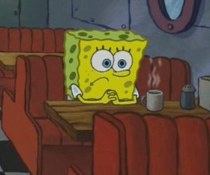 spongebob, sad, and black and white image