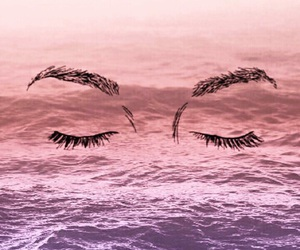 eyes, ocean, and pink image