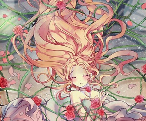 anime, rose, and anime girl image