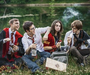 black, cigarette, and harry potter image