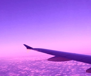 purple, plane, and clouds image