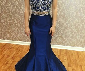 blue, evening gown, and taffeta image